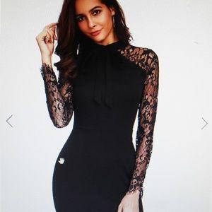 NWOT Black Lace Top Midi Dress SZ Med